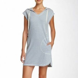 Max Studio Weekend Black White Striped Hood Dress